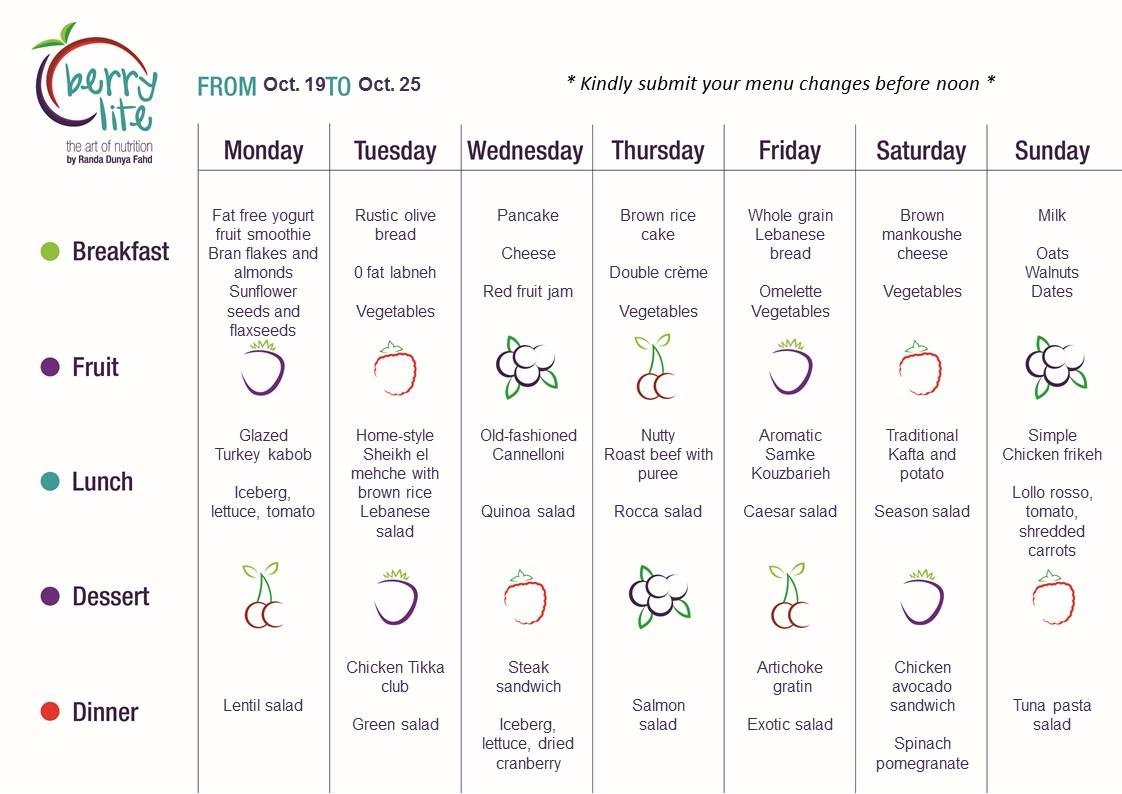 71- Berrylite menu Oct. 19 till Oct. 25