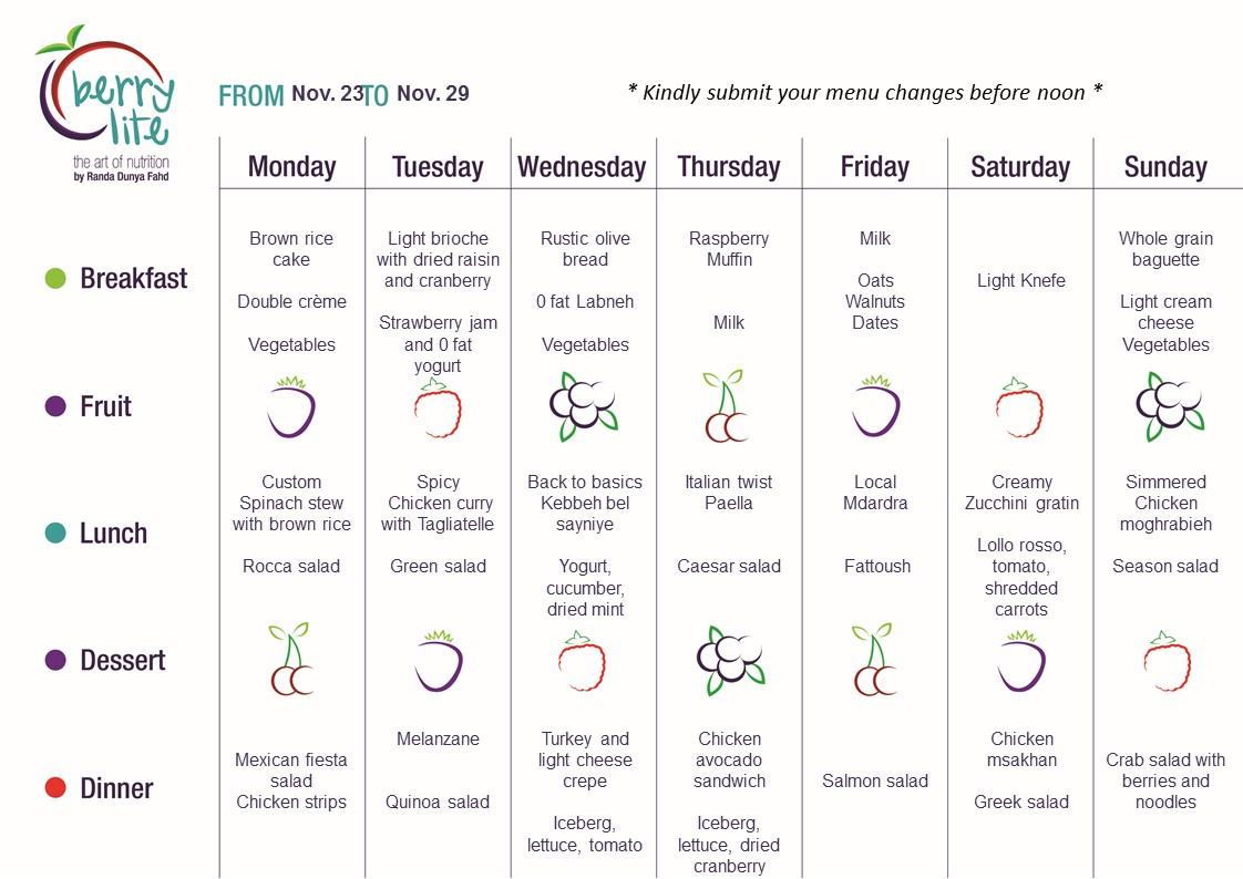 76- Berrylite menu Nov.23 till Nov. 29
