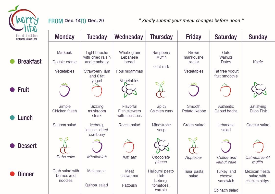 79- Berrylite menu Dec.14 till Dec. 20