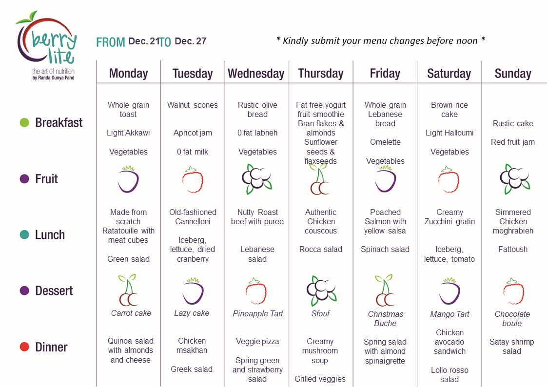 80- Berrylite menu Dec.21 till Dec. 27