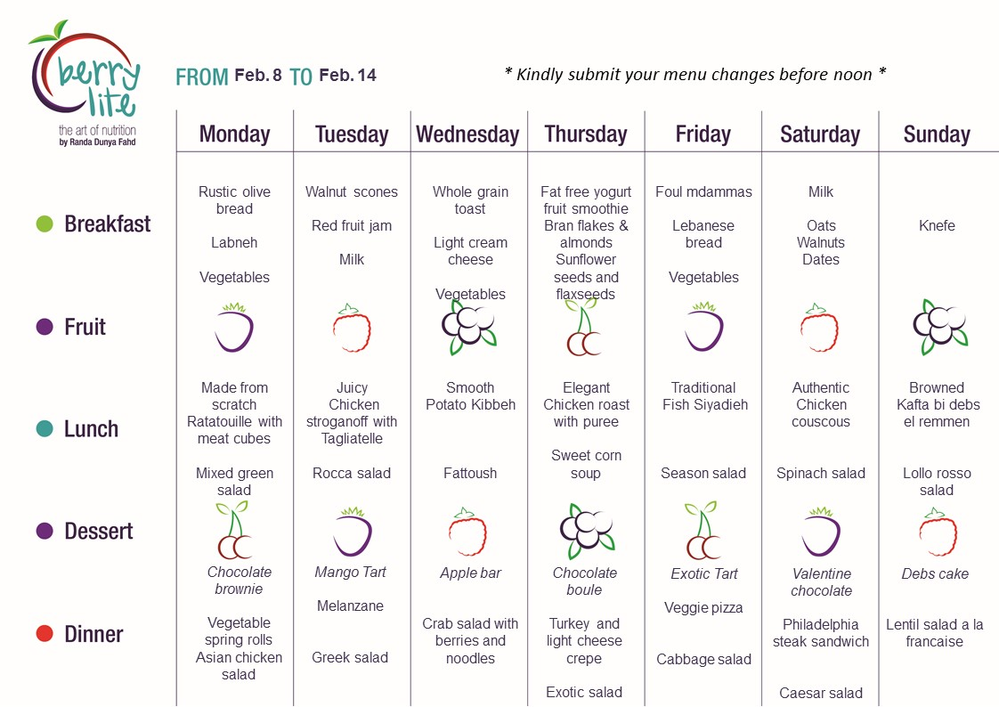 87- Berrylite menu Feb. 8 till Feb. 14