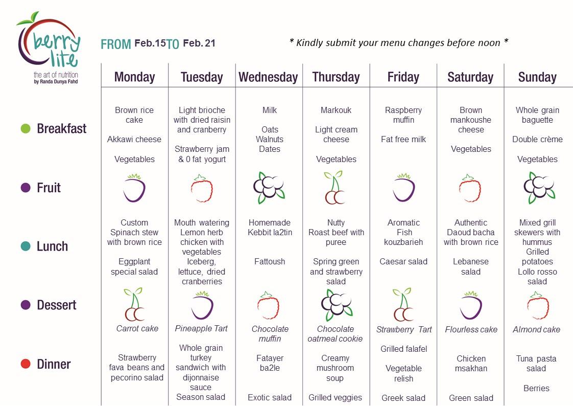 88- Berrylite menu Feb. 15 till Feb. 21