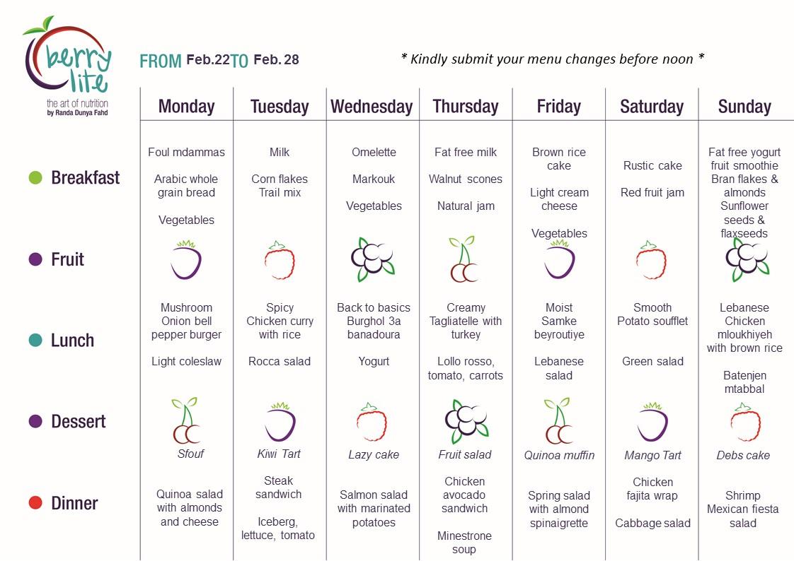 89- Berrylite menu Feb. 22 till Feb. 28