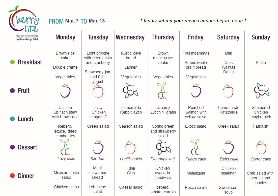 91- Berrylite menu Mar. 7 till Mar. 13