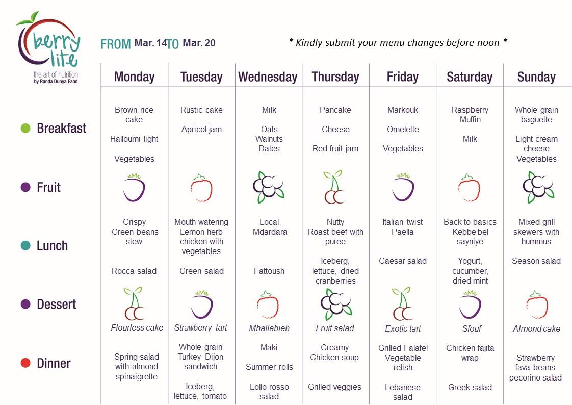 92- Berrylite menu Mar. 14 till Mar. 20