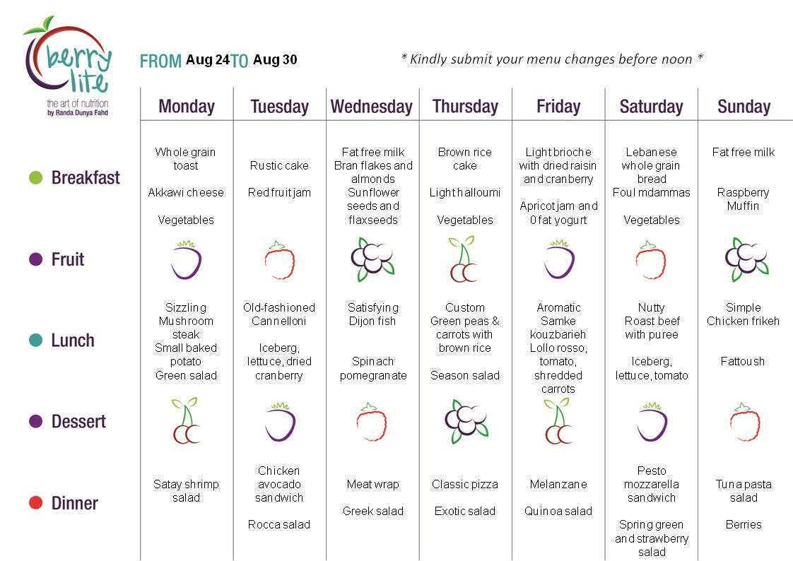 Berrylite menu Aug 24 till Aug 30
